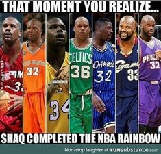 Just Shaquille ONeal - Funny Sports - - Wow was not aware that Shaq played on 7 different teams and these are actually the 7 colors of the rainbow. The post Just Shaquille ONeal appeared first on Gag Dad. Funny Nba Memes, Funny Basketball Memes, Football Memes, Really Funny Memes, Stupid Funny Memes, Funny Relatable Memes, Hilarious, Nba Basketball, Funny Basketball Pictures
