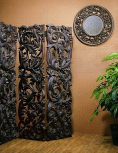 Thick, both sides caved, deep relief, perfect decor, great attraction placed in any place. Room Divider Screen, Room Screen, Indian Home Interior, Asian Home Decor, Tv Decor, Furniture Decor, Antique Furniture, Decor Ideas, Small Cottage Designs