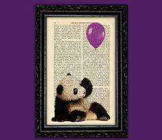 Panda Bear Purple Balloon Print - Panda Poster Book Art Dorm Room Print Gift Print Wall Decor Poster Dictionary Print Animal Art Print