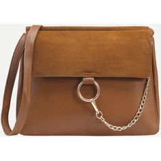 SheIn(sheinside) Brown Ring Chain Accent Faux Suede Flap Bag ($28) ❤ liked on Polyvore featuring bags, handbags, shoulder bags, brown, brown cross body purse, chain-strap handbags, flap crossbody bag, brown purse and crossbody purse