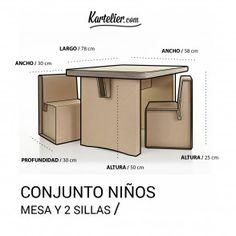 Kartelier | Muebles de cartón - Conjunto de mesa y sillas para niños en cartón