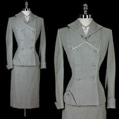 1940 | Light Gray Wool Rhinestones Button Skirt Suit by Lilli Ann