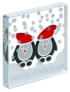 Spaceform Xmas Miniature Glass Token Dancing Penguin Merry Christmas Mini Gift