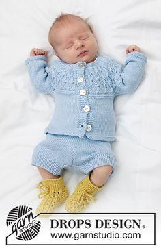 Baby Knitting Patterns, Baby Cardigan Knitting Pattern Free, Knitting For Kids, Baby Patterns, Free Knitting, Crochet Patterns, Drops Design, Baby Shorts, Drops Baby