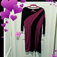 Beautiful black dress with violet design Black dress with violet design.  Elastic waist.  Long sleeve Sunny Leigh Dresses