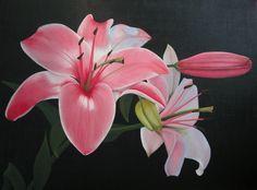 Roze lelie - Olieverf
