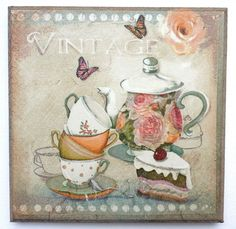 Wall Picture Plaque , Vintage Retro style Hand Made / Tea Time / Decoupage