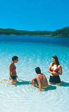 Swimming in the crystal waters of Lake MacKenzie on Fraser Island