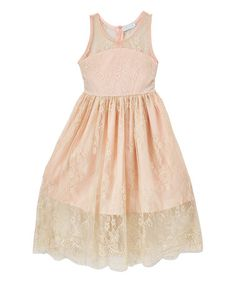 Look what I found on #zulily! Rose Pink Lace Fit & Flare Dress - Toddler & Girls #zulilyfinds