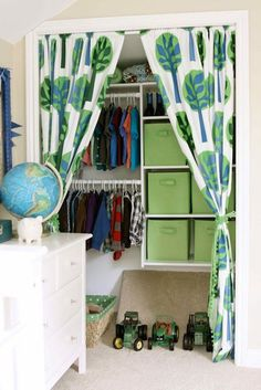Boys Closet organization idea - would work for boys or girls. (Bi-fold doors seem to be a pinching ground for the kids! Kids Clothes Organization, Closet Organization, Closet Storage, Organization Ideas, Storage Bins, Storage Ideas, Nursery Organization, Shelving Ideas, Shelves
