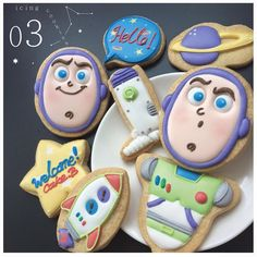 birthday party ideas for girls Cookies For Kids, Cute Cookies, Cupcake Cookies, Sugar Cookies, Toy Story Theme, Toy Story Birthday, Toy Story Party, Cumple Toy Story, Festa Toy Story