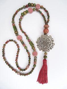 Tassel Necklace, Necklaces, Jasper, Gemstones, Etsy, Pink, Jewelry, Handmade Necklaces, Yarn Pom Poms