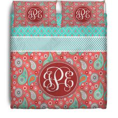 PEACHY KEEN PERSONALIZED / MONOGRAMMED DUVET OR COMFORTER - TWIN