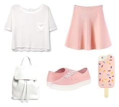 """white-pink #1"" by auliaarist on Polyvore featuring MANGO, WithChic, Vans, Mansur Gavriel and Tory Burch"