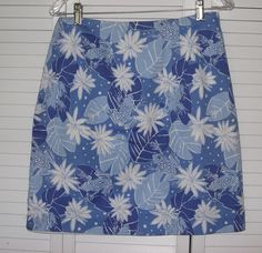 Lilly Pulitzer Skirt Lady 8 Blue Frogs Flowers  #LillyPulitzer #ALine