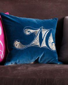 Monogram Velvet Pillow - Martha Stewart Crafts by Technique Diy Monogram, Monogram Pillows, Monogram Styles, Diy Pillows, Velvet Pillows, Decorative Pillows, Pillow Embroidery, Machine Embroidery Patterns, Embroidery Ideas