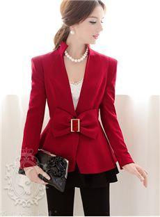 Pretty Wine Red Bowknot Slim Long Sleeve Blazer : dressyours.com