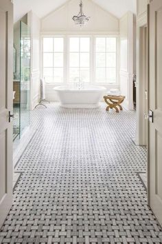 This bathroom has a mosaic of white marble with basket pattern on the floor and … This bathroom used white marble mosaic with basket weave design on the floor and it looks marvelous. The design of the floor tiles was designed to look … - Marble Bathroom D Mosaic Bathroom, Bathroom Floor Tiles, Small Bathroom, Master Bathroom, Gold Bathroom, Bathroom Cabinets, Shower Floor, Basket Weave Tile, Basket Weaving