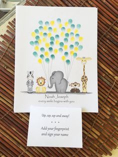 Theres no clip art or stock photos here! I I draw all these critters by hand and then make adjustments digitally so its customized for you! Art print of my hand drawn colored pencil zebra, elephant, monkey, lion and giraffe balloon fingerprint guestbook. This is a great way to commemorate all the guests at a baby shower, birthday, wedding or any other jungle safari animal themed event! Have guests add their fingerprint and sign their name as balloons carrying these safari animals up, up…