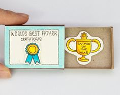 """Father's Day Card """"Father of the Year"""" """"World's Best Father"""" Matchbox / Gift box / Message box"""
