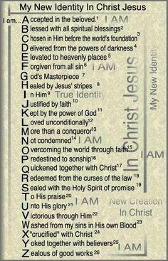 ABC's in Christ. New Identity in Christ Copyright 1990 Dr. Prayer Scriptures, Bible Prayers, Prayer Quotes, Bible Verses Quotes, Faith Quotes, Bible Study Notebook, Scripture Study, My Identity In Christ, True Identity
