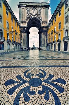 One of my favorite cities in Europe: Lisbon - Portugal my heart is still wandering those beautiful tiled streets! - Rua (street) Augusta, the busyest pedestrian street in Portugal Places Around The World, Oh The Places You'll Go, Travel Around The World, Places To Travel, Places To Visit, Sintra Portugal, Spain And Portugal, Portugal Travel, Portugal Trip