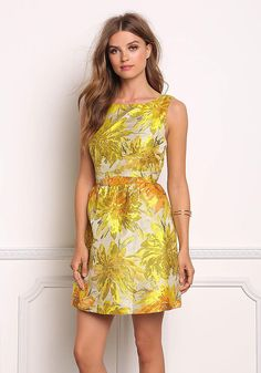 Yellow Metallic Floral Pleat Flare Dress