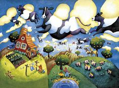 """Flying cows"" by Toni Pawlowsky, Wisconsin! // Imagekind.com – Buy stunning, museum-quality fine art prints, framed prints, and canvas prints directly from independent working artists and photographers."