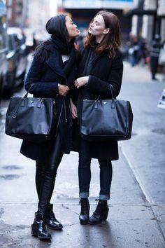 Streetstyle Model Street Style Minimal Fashion Wearing Black