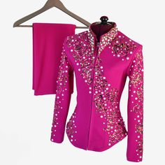 Fuchsia Pearls Showmanship Set XXS or Girl's Large Western Show Shirts, Western Show Clothes, Rodeo Shirts, Horse Show Clothes, Rodeo Outfits, Cowboy Outfits, Western Outfits, Western Wear, Showmanship Jacket
