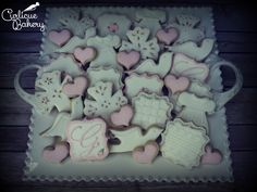 Lace and eyelet inspired baby girl baptism decorated cookies