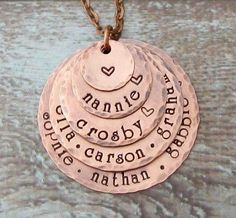 Personalized Hand Stamped Grandma 5 Layer Necklace!