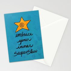 Embrace Your Inner Superstar Stationery Cards by claudineintner Fold Envelope, Super Star, Art Decor, Card Stock, Stationery, Smooth, Bright, Colorful, Printed