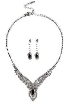 Stone Jewelry Set with Teardrop Stone Necklace and Matching Earrings $11.20
