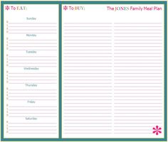 grocery and meal plan template