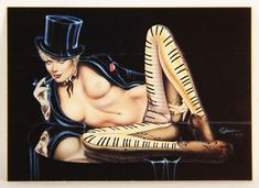 L008671 Olivia DeBerardinis 1992 Card #32 - Piano Lady 1982 / Pin-Up Art
