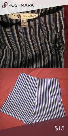 Shrinking violet high waisted shorts Striped high waisted shorts, zip up back! Pocket on sides shrinking violet  Shorts