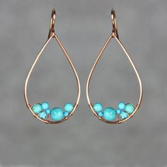 Teardrop earrings Turquoisecopper hoop earrings handmade earrings gift for her dangle earrings bridesmaid gift free US shipping Diy Ohrringe. Wire Earrings, Teardrop Earrings, Crystal Earrings, Crystal Jewelry, Earrings Handmade, Beaded Jewelry, Handmade Jewelry, Silver Earrings, Diamond Jewelry