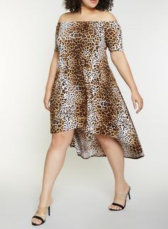 Plus Size Animal Print Off the Shoulder Dress - Brown - Size 3X a002a2634