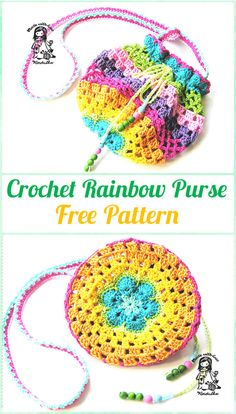 Crochet Rainbow Purse Free Pattern - Crochet Kids Bags Free Patterns