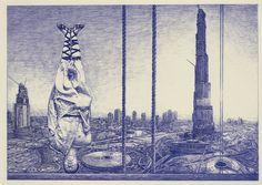 Andrea Zucchi, Dubai, 2009, penna a sfera su carta pergamena, cm 40x57.