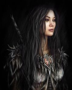 This is a gothic fantasy digital portrait painting of a beautiful woman wearing exotic armor. Fantasy Female Warrior, Fantasy Women, Fantasy Rpg, Dark Fantasy Art, Fantasy Girl, Fantasy Artwork, Fantasy Inspiration, Character Inspiration, Character Portraits