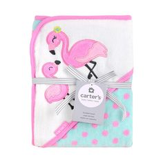 Bath time is a fun animal adventure with Carter's Hooded Character Towels. Wrap your little one in this super soft and absorbent towel topped with a flamingo hood. The adorable applique and cotton hood keep your baby both cute and cozy after a bath.<br>
