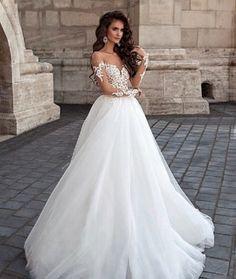A-Line, Low Shoulder and 2016 Wedding Dress M-2126