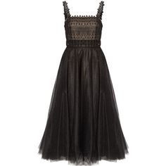 Marchesa Notte - Layered Embellished Tulle Midi Dress (1.235 BRL) ❤ liked on Polyvore featuring dresses, black, beaded cocktail dresses, embroidered dress, tulle dress, embroidered cocktail dress and embellished cocktail dress