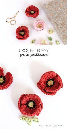 Beautiful crochet poppy flower pattern. Free crochet pattern for a Remembrance Day Poppy. Crochet applique flower. Photo tutorial and written crochet pattern.