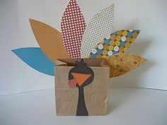 Easy Turkey Brown Bag Project. Upper grades- article bag- what are you most thankful for?