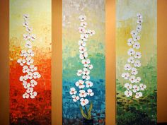 3 panels of Original Modern White Orchids Painting.Oil.Impasto.Art Deco.White Flowers.Gallery Wrapped Canvas.Ready to hang -.by Nata S.. $249.00, via Etsy.