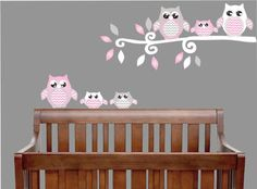 Amazon.com: Pink Owl Wall Decals / Owl Stickers / Owl Nursery Wall Decor (Grey and Pink Owl Wall Decals): Baby