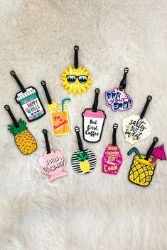 Accessorize your luggage and travel in style with these luggage tags! These rubber tags clip on securely and offer a Name, Address, and Telephone window for your information.